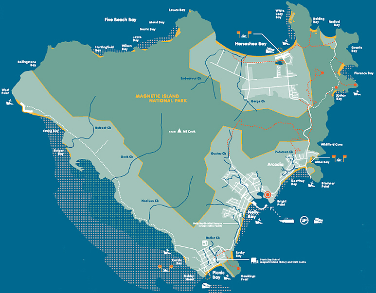 Magnetic Island Map Magnetic Island Walking Tracks   Bungalow Bay Koala Village